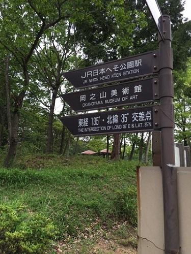 日本へそ公園内にあるJRへそ公園駅の案内標識の写真