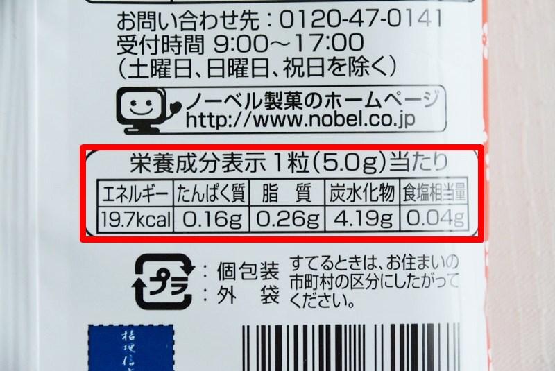 桔梗信玄餅飴の栄養成分表示