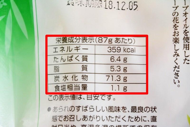 オリーブの花の栄養成分表示