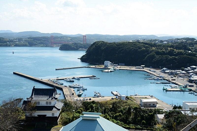平戸城の天守閣から見える景色の写真