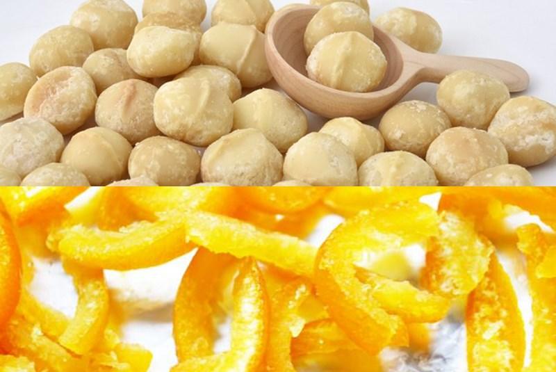 マカダミアナッツとオレンジピール