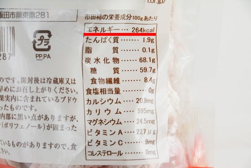 市田柿の栄養成分表示欄の写真