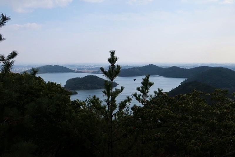 木々の隙間から見える平荘湖