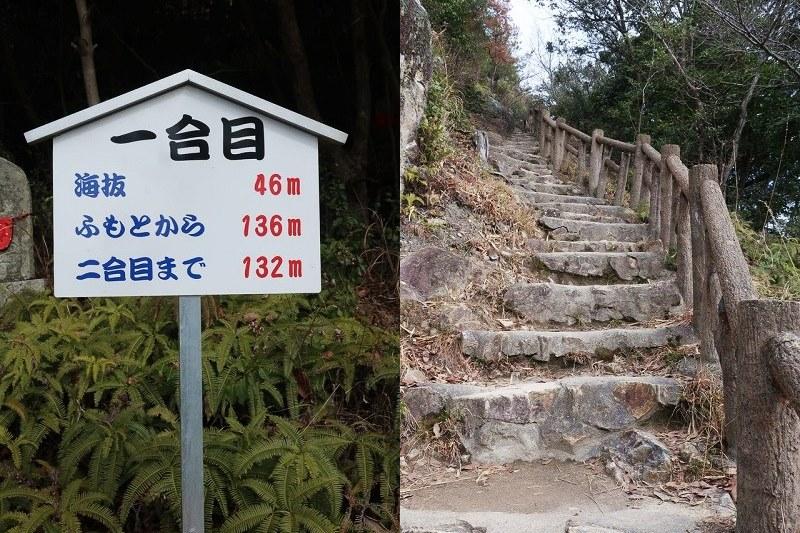 雄鷹台山一合目の案内板と石段