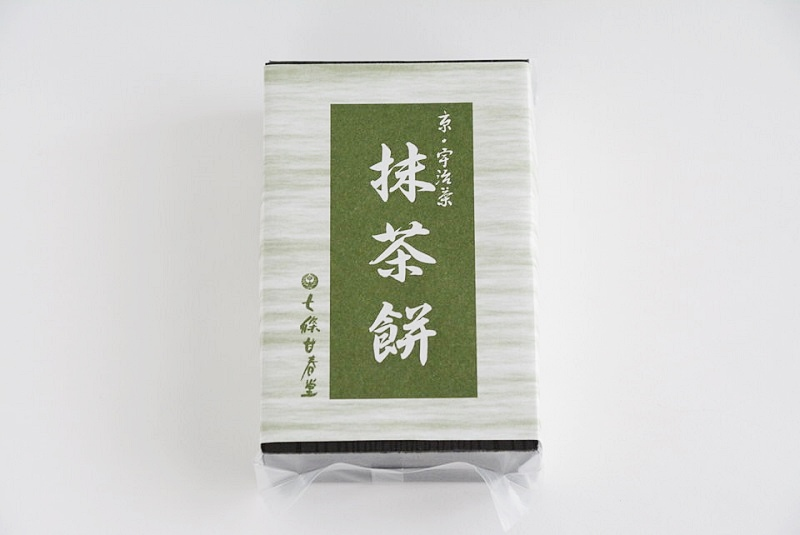 七條甘春堂「抹茶餅」の外箱