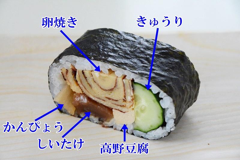 天船巻きずしの具材(きゅうり、かんぴょう、卵焼き、高野豆腐、しいたけ)