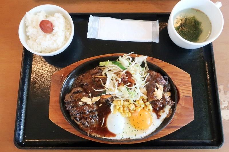 E.炭火焼きハンバーグ&ステーキどっちもセット(980円+税)