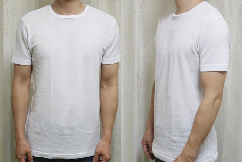 無印・綿でさらっとクールネック半袖の着用写真