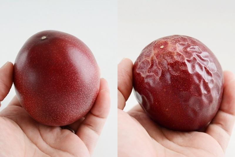 獲れ立てのパッションフルーツと追熟させたパッションフルーツ