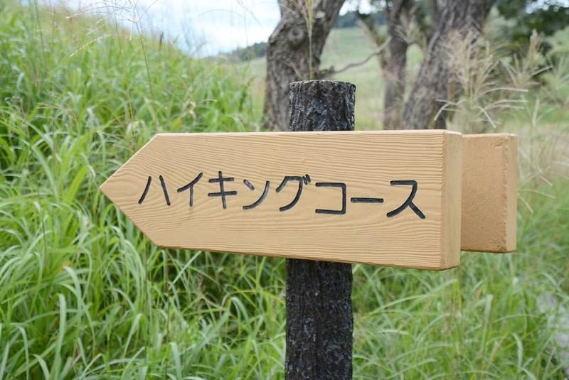 砥峰高原の「ハイキングコース」と書かれた案内板