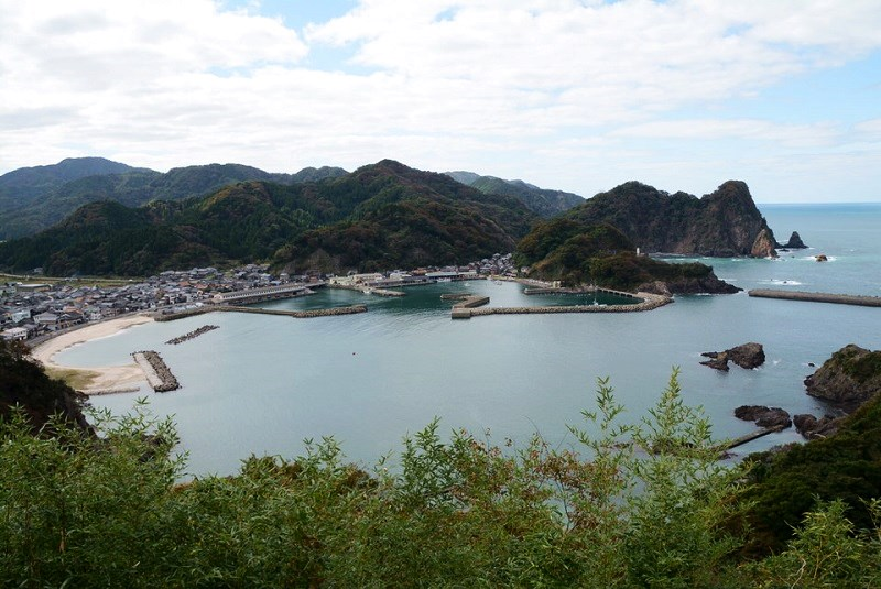 城山園地から見える諸寄港の景色