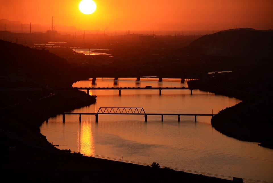 三木市の正法寺展望台から見える夕日