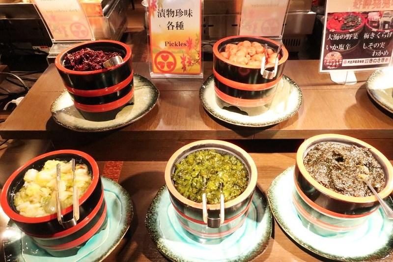 大江戸温泉きのさきの料理(漬物珍味)